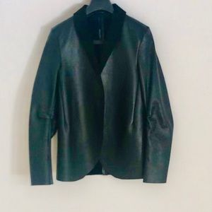 Other - Black leather tuxedo jacket